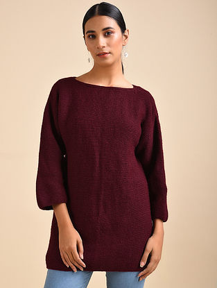 Maroon Hand Knitted Wool Dress