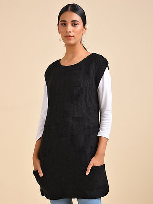 Black Hand Knitted Wool Dress