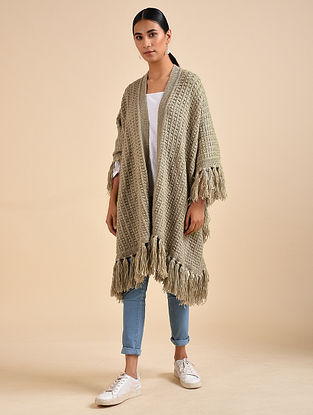 Beige Hand Knitted Wool Throw