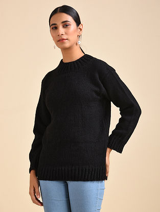 Black Hand Knitted Wool Pullover