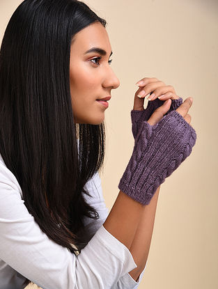 Violet Hand Knitted Wool Fingerless Mittens