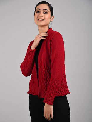 Red Hand Knitted Hand Knitted Wool Shrug
