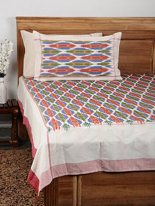 Multicolor Ikat Cotton Double Bedcover with Pillow Covers (Set of 3)