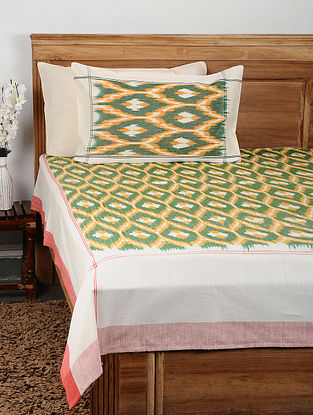 Green Ikat Cotton Double Bedcover with Pillow Covers (Set of 3)