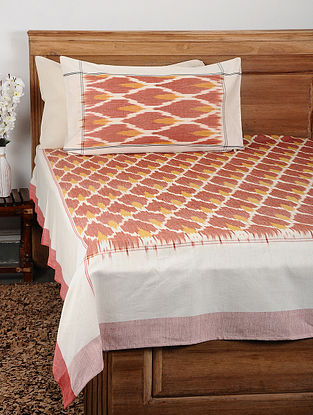 Red Ikat Cotton Double Bedcover with Pillow Covers (Set of 3)