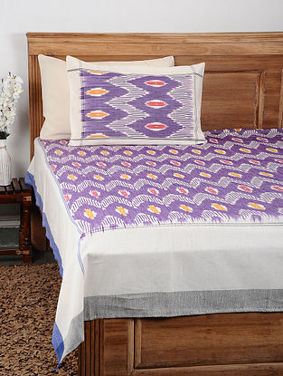 Purple Ikat Cotton Double Bedcover with Pillow Covers (Set of 3)