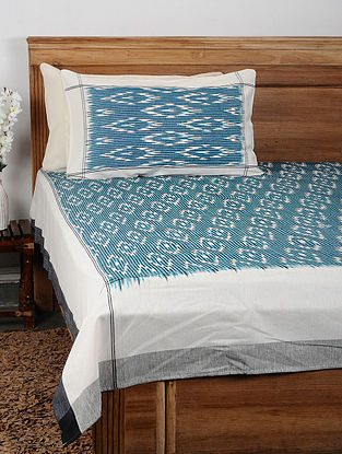 Blue Ikat Cotton Double Bedcover with Pillow Covers (Set of 3)