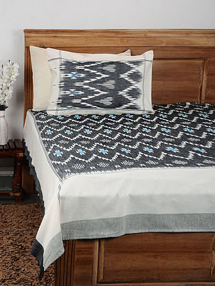 Black Ikat Cotton Double Bedcover with Pillow Covers (Set of 3)