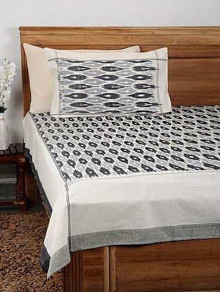Grey Ikat Cotton Double Bedcover with Pillow Covers (Set of 3)