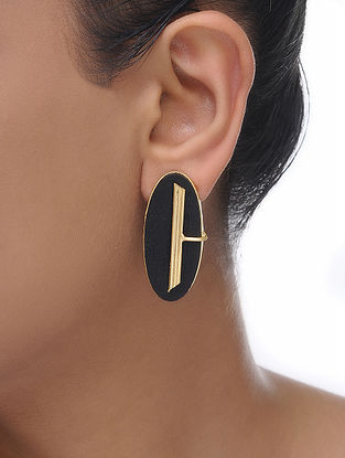 Brown Gold Tone Wood Earrings