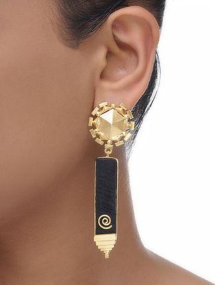 Brown Gold Tone Wood Earrings