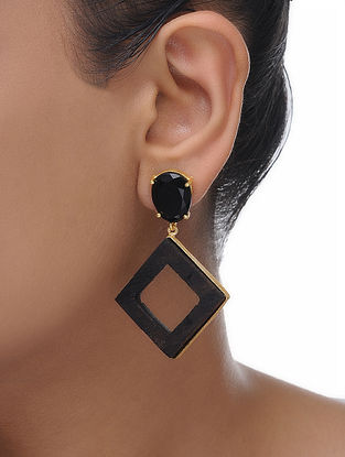 Black Gold Tone Wood Earrings