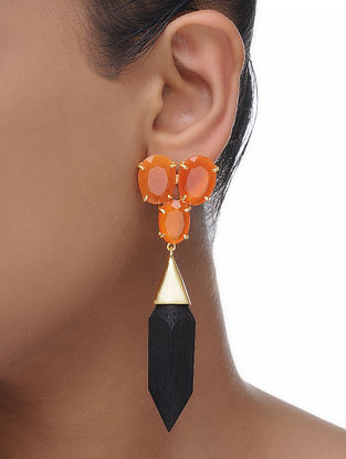 Orange Gold Tone Wood Earrings