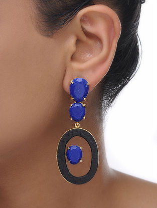 Blue Gold Tone Wood Earrings