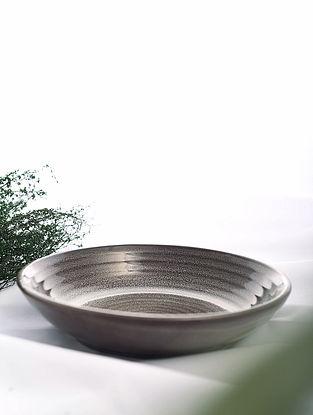 Brown Handmade Ceramic Bowl (Dia - 9.5in, H - 2in)