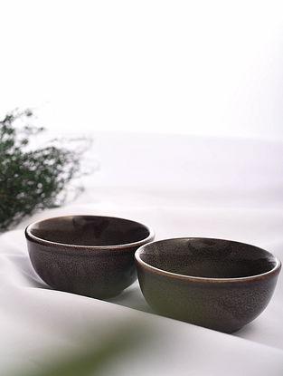 Brown Handmade Ceramic Bowls (Set of 2) (Dia - 4.2in, H - 2in)