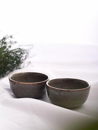 Brown Handmade Ceramic Bowls (Set of 2) (Dia - 3.7in, H - 2in)