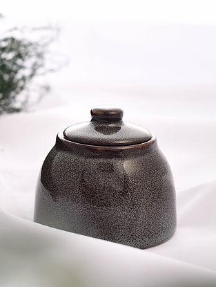 Brown Handmade Ceramic Sugar Pot (Dia - 3.6in, H - 3in)