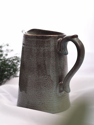 Brown Handmade Ceramic Jug (L - 7.5in, W - 5.2in, H - 7.2in)