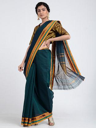 Teal Narayanpet Cotton Saree with Woven Border