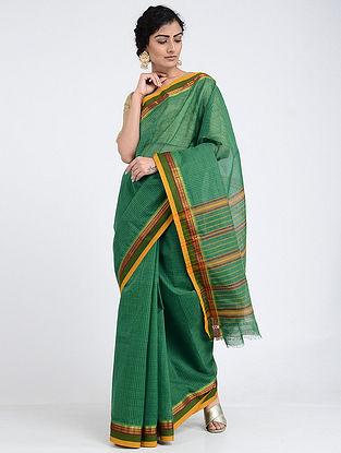 Green Narayanpet Cotton Saree with Zari