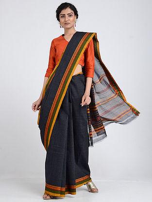 Blue-Yellow Narayanpet Cotton Saree with Woven Border