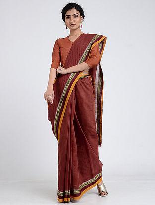 Maroon Narayanpet Cotton Saree with Woven Border