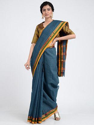 Blue-Green Narayanpet Cotton Saree with Woven Border