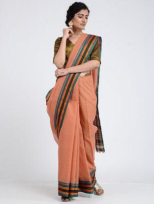 Peach-Blue Narayanpet Cotton Saree with Woven Border