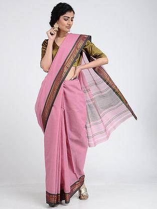 Pink Narayanpet Cotton Saree with Zari