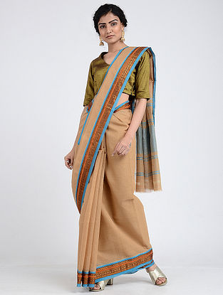 Beige-Blue Narayanpet Cotton Saree with Zari