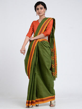 Green-Orange Narayanpet Cotton Saree with Woven Border