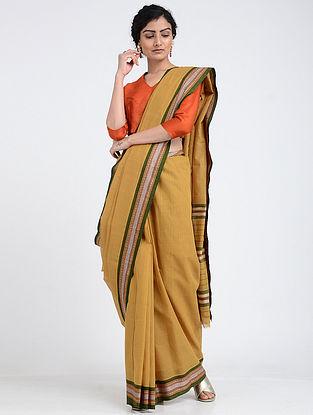 Beige-Green Narayanpet Cotton Saree with Woven Border