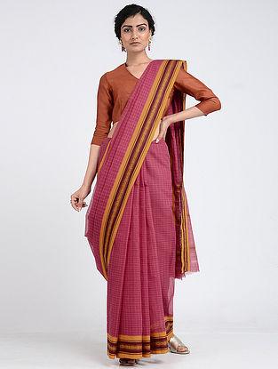 Pink-Yellow Narayanpet Cotton Saree with Woven Border