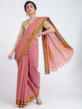 Pink-Yellow Narayanpet Cotton Saree with Zari