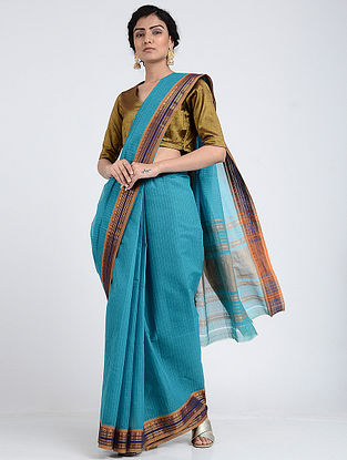 Blue Narayanpet Cotton Saree with Zari