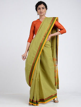 Green Narayanpet Cotton Saree with Zari