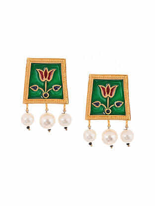 Green Maroon Enameled Gold Tone Handcrafted Earrings with Pearls