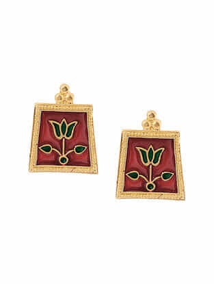 Maroon Green Enameled Gold Tone Handcrafted Earrings
