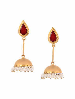 Maroon Enameled Gold Tone Handcrafted Jhumki Earrings with Pearls