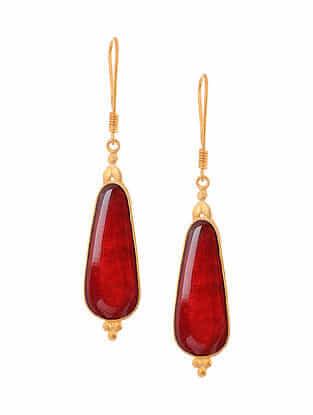 Maroon Enameled Gold Tone Handcrafted Earrings