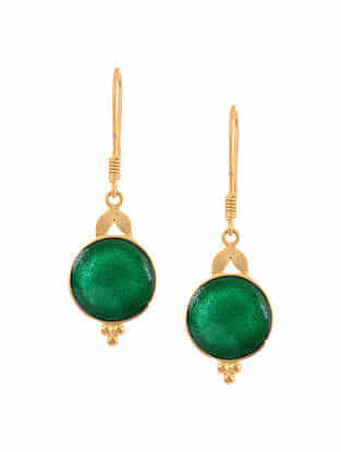 Green Enameled Gold Tone Handcrafted Earrings