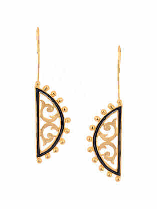 Black Enameled Gold Tone Handcrafted Earrings