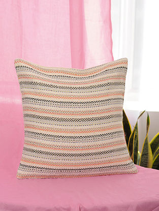 Lehar Peach-Multicolor Handwoven Metallic and Cotton Jaquard Cushion Cover (16in x 16in)