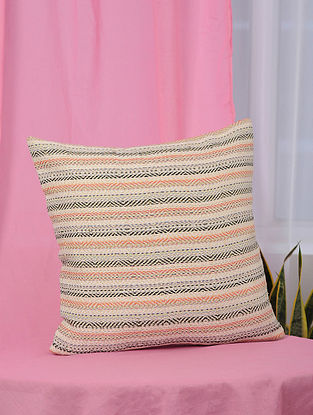 Lehar Peach-Multicolor Handwoven Metallic and Cotton Jaquard Cushion Cover (18in x 18in)