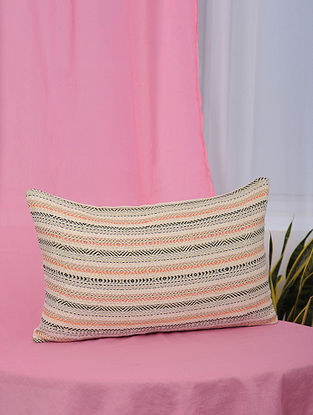 Lehar Peach-Multicolor Handwoven Metallic and Cotton Jaquard Cushion Cover (13.5in x 21in)