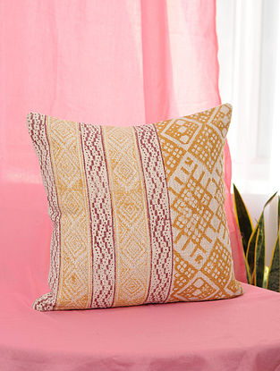 Aztec-Summer Orange and Red Handblock Printed Cotton Cushion Cover (16in x 16in)