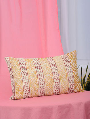 Aztec-Summer Orange and Red Handblock Printed Cotton Cushion Cover (13in x 21in)