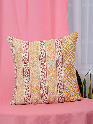 Aztec-Summer Orange and Red Handblock Printed Cotton Cushion Cover (18in x 18in)