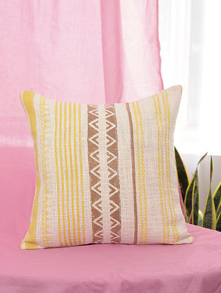 Tribal Yellow and Brown Handblock Printed Cotton Cushion Cover (16in x 16in)